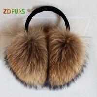 ZDFURS * naprawdę duże futro szopa Ponadgabarytowych nauszniki Koreański piękny osobowość pluszowe futerko nauszniki futrzane rzeczywistym pokrywa ucha ciepłe