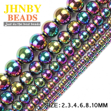 JHNBY Round Hematite beads 2/3/4/6/8/10mm Natural Stone Plating color Loose ball Jewelry bracelets Making DIY Accessories