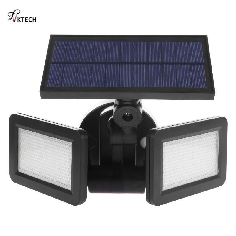 48 LEDs Dual Kopf Solar Licht Radar Sensor Scheinwerfer Wasserdichte Outdoor Solar Garten Licht Super Hellen Hof Flut LED Lampe