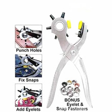 2016 Multi Function 8'' Roto Punch Leather Hole Punching Tool Mending Solution Add Eyelets Puncher /Pilers for Belt+50pcs Eyelet