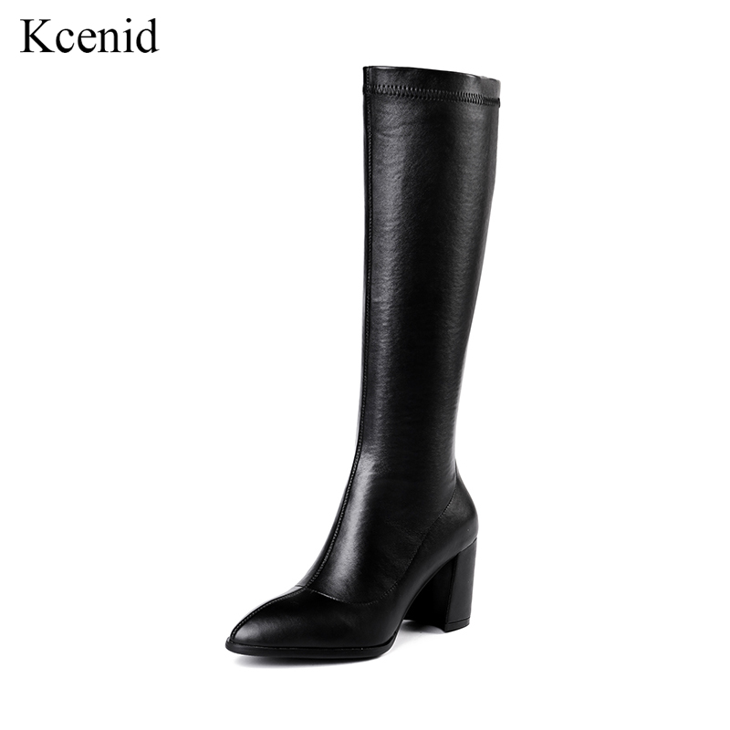 Kcenid Fashion stretch leather knee high boots women pointed toe high heels knight boots shoes female winter boots zapatos mujerKcenid Fashion stretch leather knee high boots women pointed toe high heels knight boots shoes female winter boots zapatos mujer