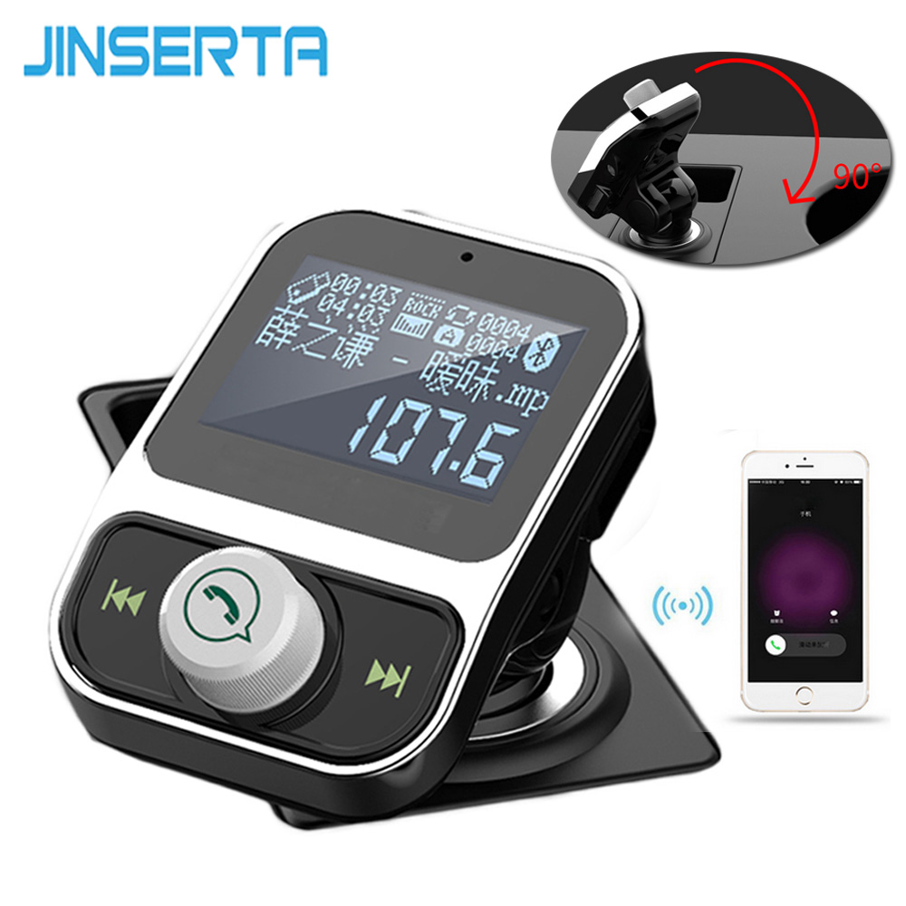JINSERTA 4 in 1 Wireless Hands Free Bluetooth FM Transmitter Modulator Car Kit MP3 Player SD USB LCD Car Music Player + AUX