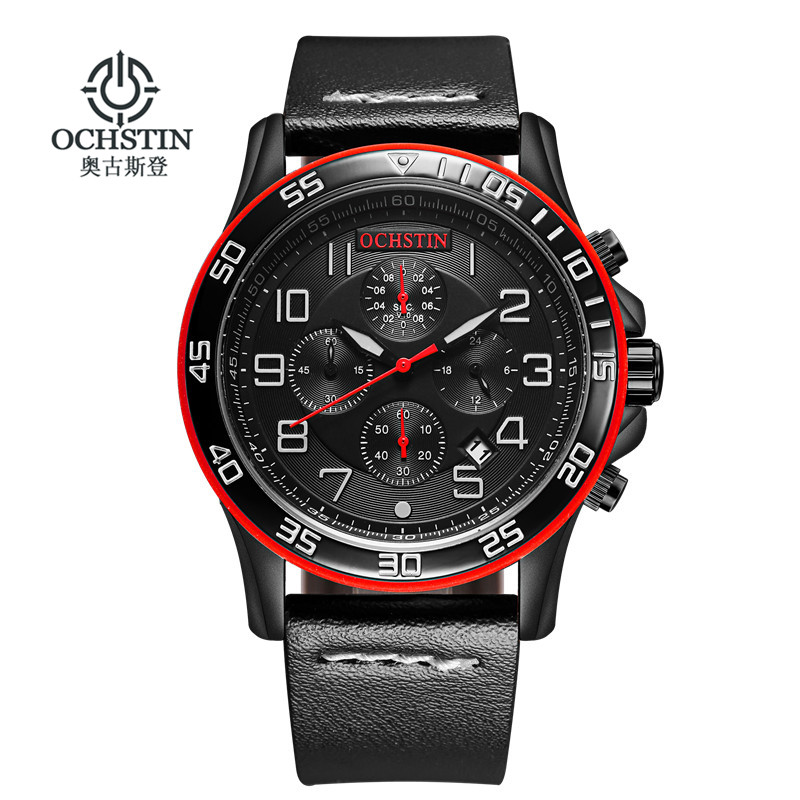 OCHSTIN 2017 New Luxury Brand Men Fashion Sports Watches Men s Quartz Chronograp Clock Man Leather