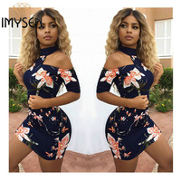 IMYSEN Summer Autumn Women Fashion Print Dress Sexy Halter Off Shoulder Mini Dresses One Pace Empire