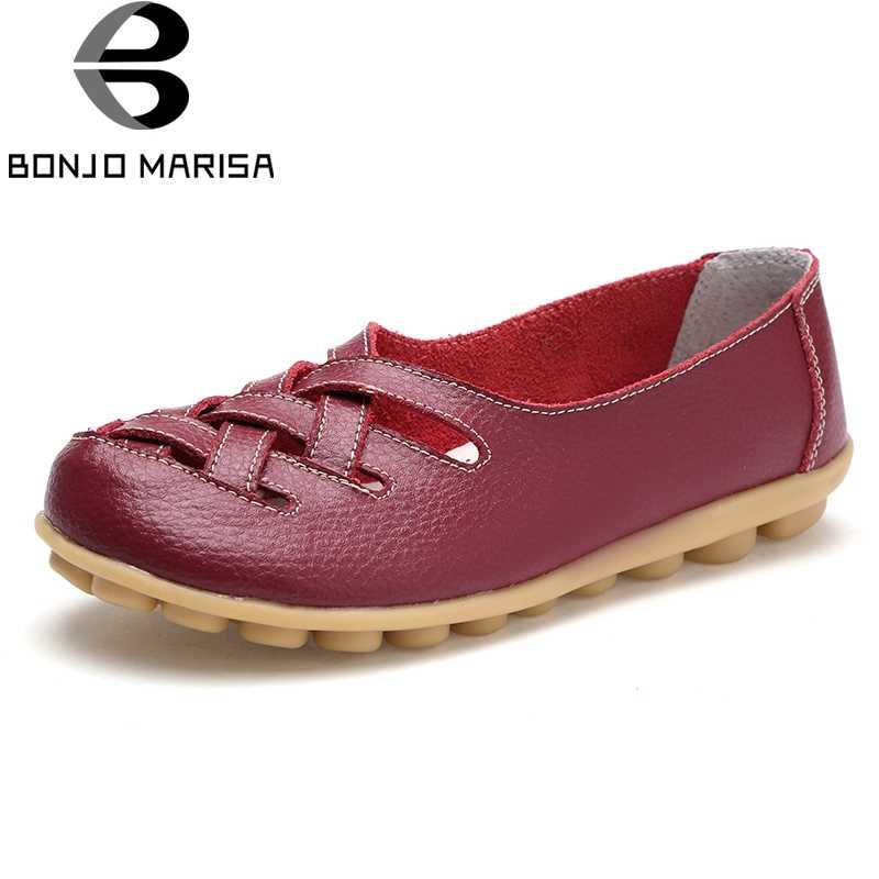 BONJOMARISA/Большие размеры 34-44; женские модные Лоферы без застежки; женские удобные балетки на плоской подошве; Летние повседневные Мокасины