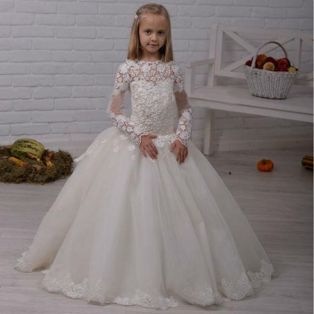 Popolare Bianco Ragazze di Fiore Abiti Per Abito Da Sposa Tulle Ragazza  OY92