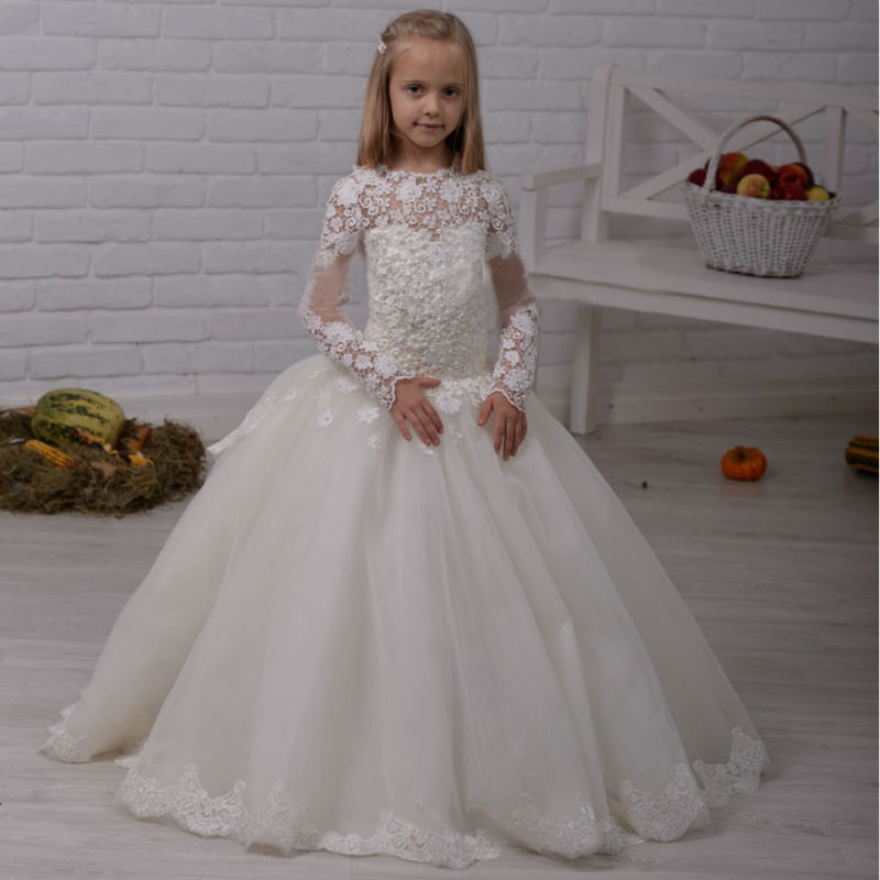 White Lace Flower Girls Dresses For Wedding Gown Tulle Vestido Longo Ball Gown Kids Evening Gowns Long Mother Daughter Dresses magellan за бортом mag00012