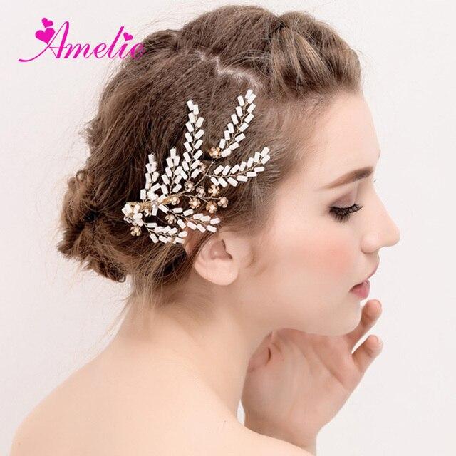 Continental Oro Gioielli Da Sposa Bianco Perline Perline Wedding Accessori  Per Capelli Clip di Capelli Laterali 5be50120b9a4
