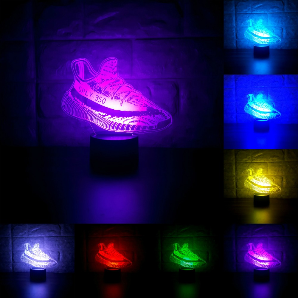 Basketball Shoes Creative 3D LED Lamp Acrylic 7 Color Changing USB Led Night Lights Sporting Boy Room Indoor Lighting IY803045