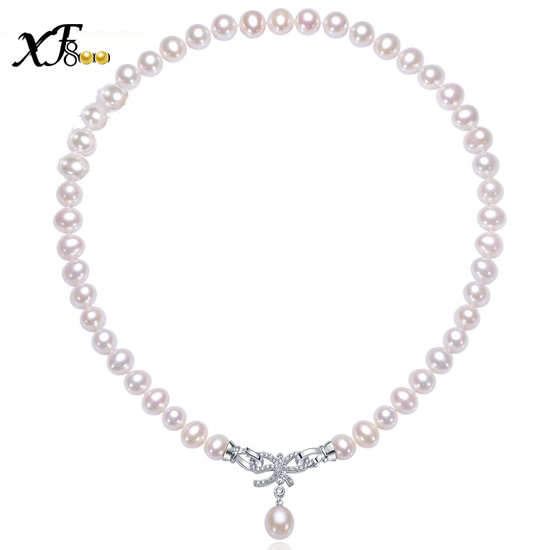 XF800 bowknot fine jewelry natural pearl necklace , 9-10mm white near round pearl choker necklace 3 wearing methods S21 faux leather bowknot uncle moon choker