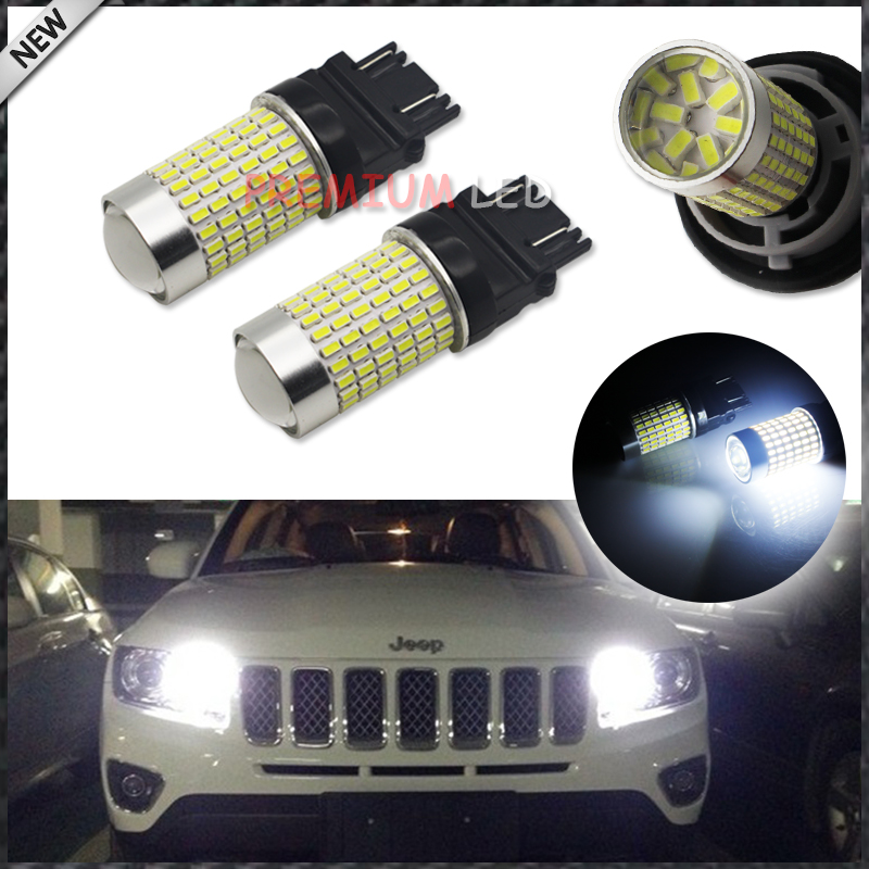 iJDM 1400 Lumens Xenon White 144-SMD 3157 3357 3457 4114 3156 T25  LED Bulbs For 2011-up Jeep Compass For Daytime Running Lights ijdm hid white 15 smd 3535 powered 3157 t25 led bulbs for daytime running lights drl for 2011 and up jeep grand cherokee 6000k