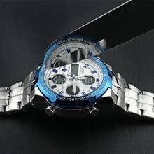 WWOOR Dual Display Man Watch Chronograph Alarm Waterproof Blue LED Watch Men Sports Quartz Wrist Watch Calendar Week Male Clock
