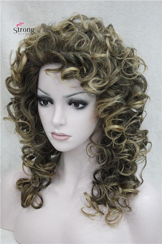 Средний слоев вьющиеся парик монолитным коричневый с светлые моменты Синтетические волосы Искусственные парики для Для женщин