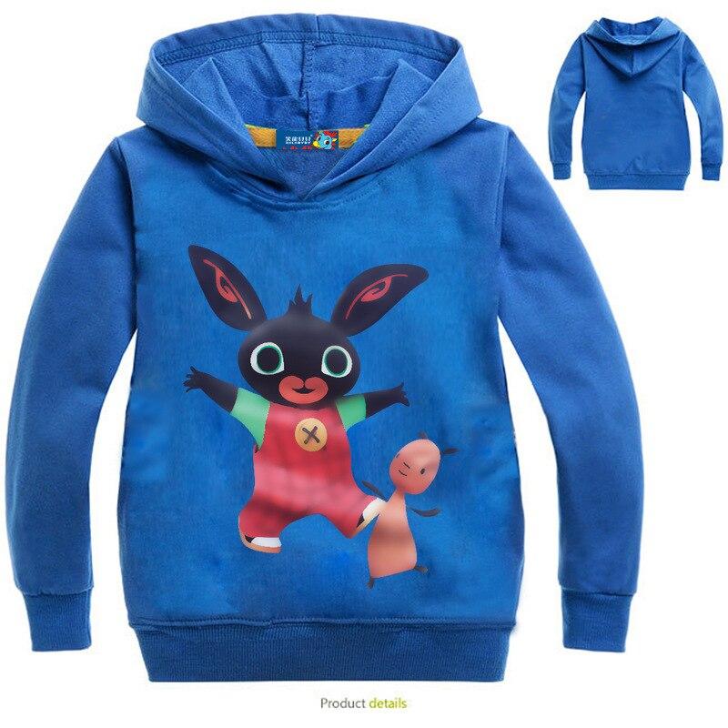Spring Kids Bing Bunny Cartoon Print Hoodies Coats for Boys Girls Rabbit Long Sleeves Hoody Sweatshirts Children Costumes
