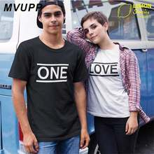 b95b1dc8af15 ONE LOVE print couple clothes for lovers tee shirts korean husband and wife family  t shirt clothing matching men women plus size