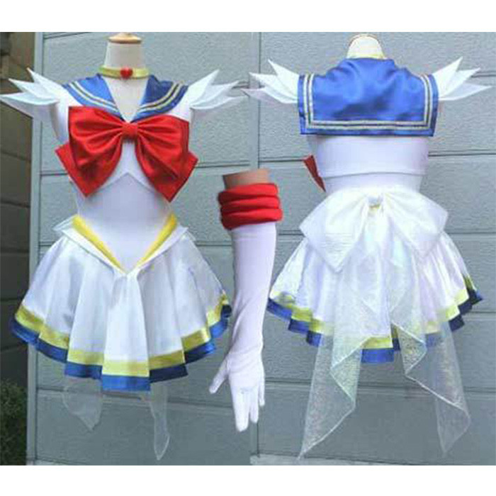 New Anime Sailor Moon Cosplay Costume Female Halloween Party Tsukino Usagi Costumes Full Set Dress+gloves+Neckwear-in Anime Costumes from Novelty & Special Use    1