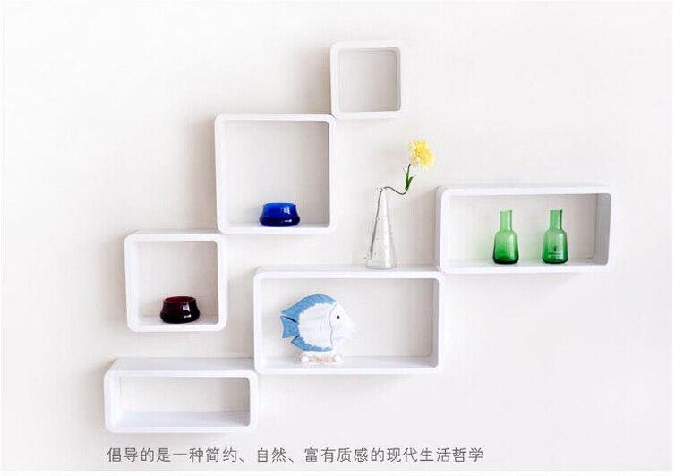 6 unidslote pared decorativos estantes madera blanco con colorido estantes moderna 3d etiqueta de la pared coreano pared estantes en soportes y estanteras - Estantes De Pared