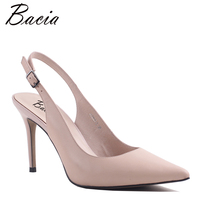 Bacia 2017 New Fashion High Heels Genuine Leather Women Pumps Thin Heel Classic Pink Wedding Shoes