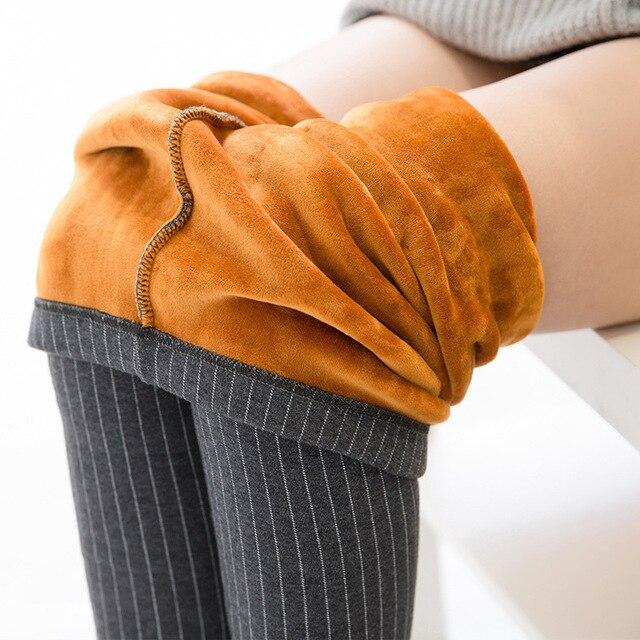 Осень и Зима Стиль леггинсы женщины брюки плюс размер 5XL Упругой вертикальные полосы толщиной плюс бархат теплые женские брюки