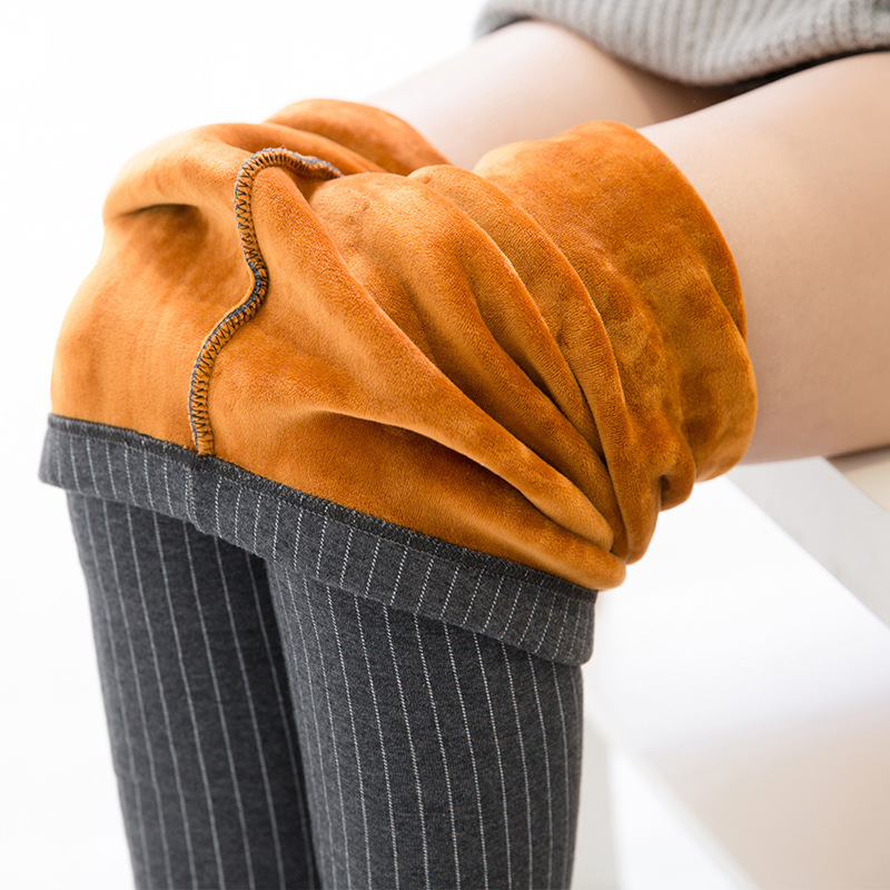 Autumn and Winter Style  leggings women trousers plus size 5XL Elastic vertical stripes thick plus velvet warm women's pants