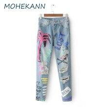 Mohekann High Waist Women Jeans 2017 Fashion Print Ripped Torn Jeans Slim Denim Boyfriends Trousers Female Ankle-length Pants