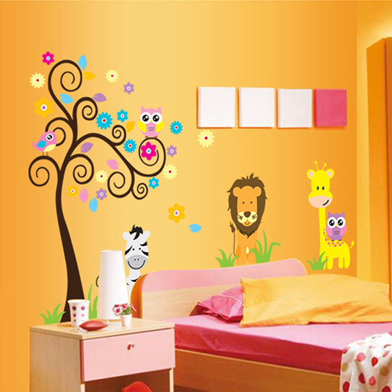 tienda online animal jirafa owl tree beb de dibujos animados para nios nios en casa decoracin pared de vinilo pegatinas mural art sticker decal adesivo