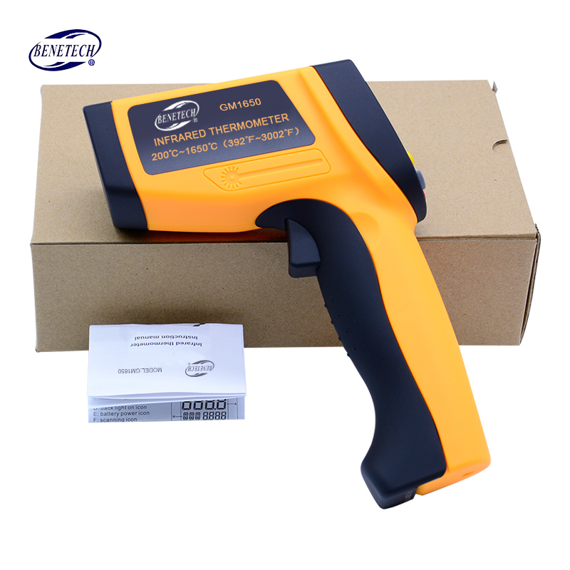 Benetech Digital Infrared Thermometer GM1650 Non-contact IR Laser Thermometer  Temperature tester - 50~ 1650 C + Wholesale benetech gm320 1 2 lcd infrared temperature tester thermometer orange black 2 x aaa