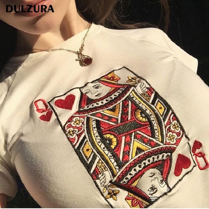 Dluzura cotton poker Q embroidery short sleeve women t-shirt 2018 spring summer female sexy crop top white tee shirt