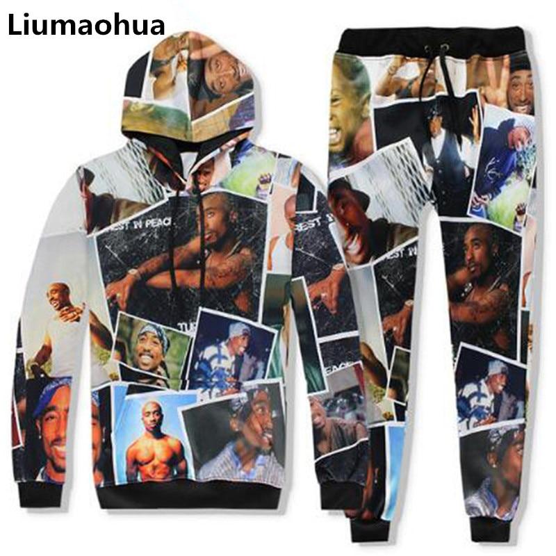 Liumaohua Nuove Donne Degli Uomini Con Cappuccio Felpe stampa 3D 2Pac Tupac American gangster Rap singer Hoodies + pants Set S