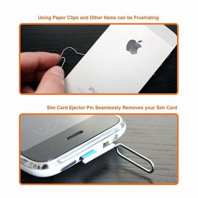 10PCS Sim Card Tray Ejector Eject Pin Key Removal Tool For iPhone Apple 6 6S 7 Plus huawei p8 lite P9 xiaomi redmi 4 pro 3 Phone 3