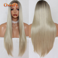Oxeely Long Straight Hair Synthetic Hair None Lace Wigs Platinum Brown Straight Wig 6 Deep Parting Heat Resistant for Women