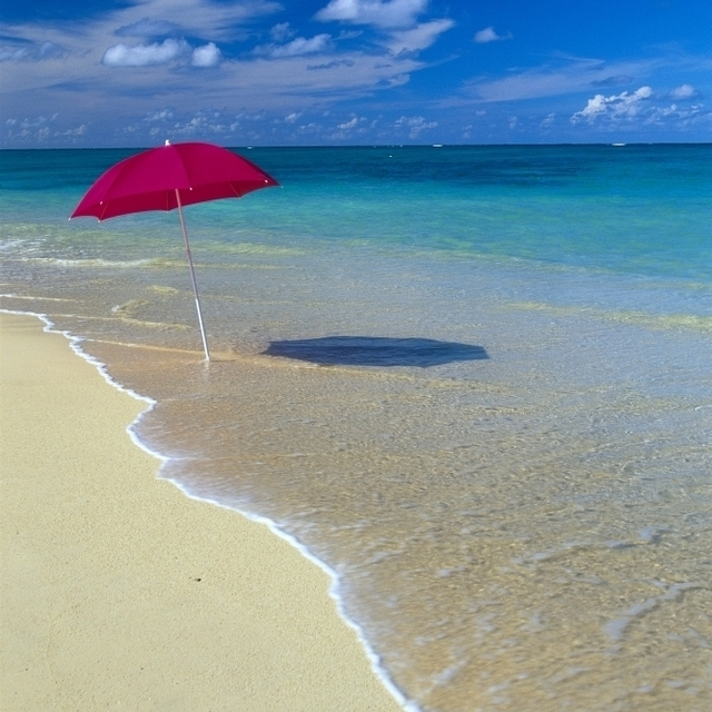 Red Beach Umbrella In Sline Waters Clear Turquoise Water B1455 Poster Print 12 X 19