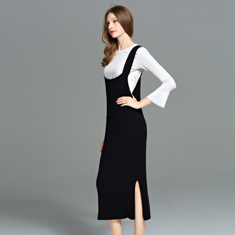 2017 Vest Sweater Dress Long Style Womens Plus Size Black Sweater