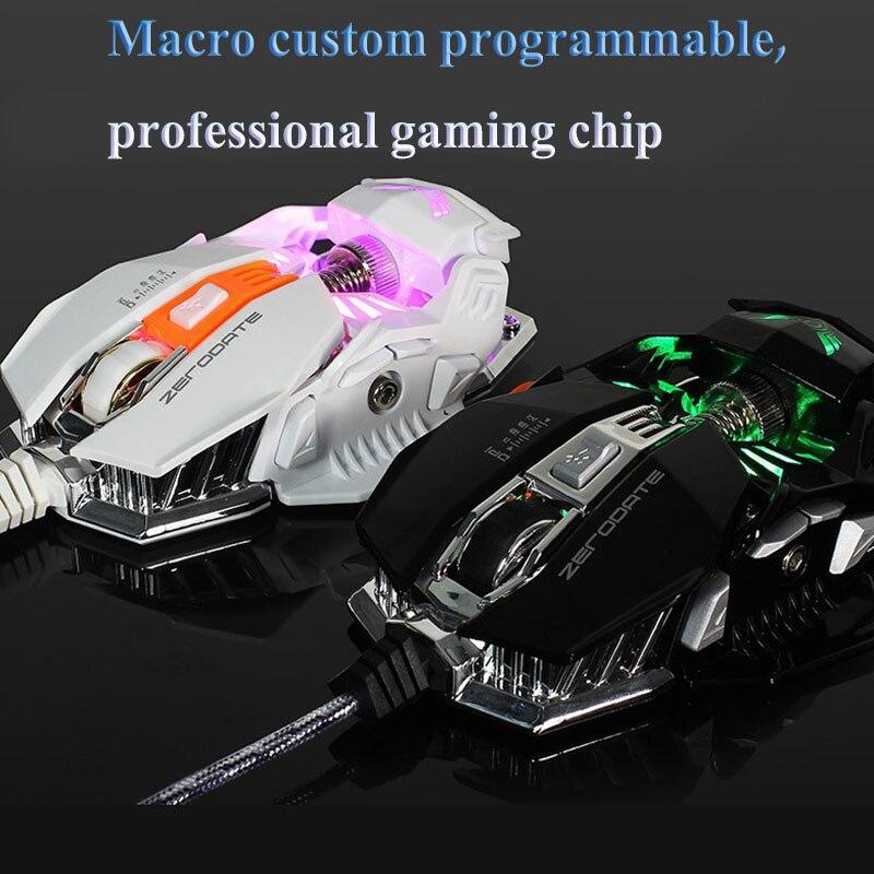Souris de jeu filaire professionnelle 2500 dpi 7 boutons réglable USB ordinateur Gamer souris Macro Programmable personnalisée - 3