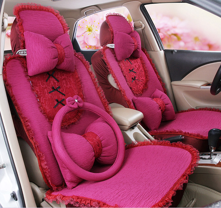 2016 auto supply 5 seats covers for 1 set female car seat cover four season cute girls butterfly lace car seat cover cushion