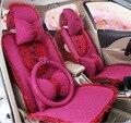 2016 carro auto abastecimento de 5 assentos covers para 1 conjunto feminino tampa do assento de quatro temporadas bonito meninas borboleta rendas tampa de assento do carro almofada