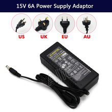 New LED Driver AC 100-240V to DC 15V 6A Power Supply Charger Adapter Transformer 220V 15V 90W Converter with power cord цена 2017