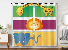 Blackout Curtains 2 Panels Grommet for Bedroom Cute Animals Giraffe Lion Elephant Cartoon