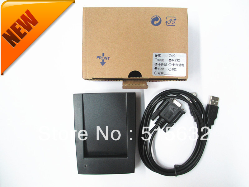 New RS232 New Security Black USB RFID Proximity Sensor Smart ID Card Reader 125Khz EM 5pcs lot free shipping outdoor 125khz em id weigand 26 proximity access control rfid card reader with two led lights