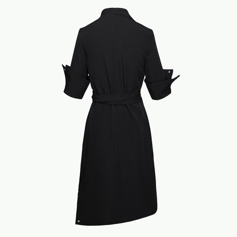 Abiti Del Manica Bow Sette Nero Black Slim Vita Vestiti Cotone Di Lace Dalle Alta A Autunno Vestito Temperamento Getsring Donne Irregolare Up 4nHBwqWvSn