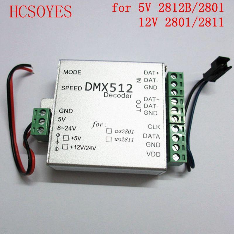 size 40 6d072 f0892 US $8.14 26% OFF|Dmx512 decoder LED SPI Converter for ws2811 ws2812b led  strip DC5V/12V DMX LED RGB Controller-in RGB Controlers from Lights & ...