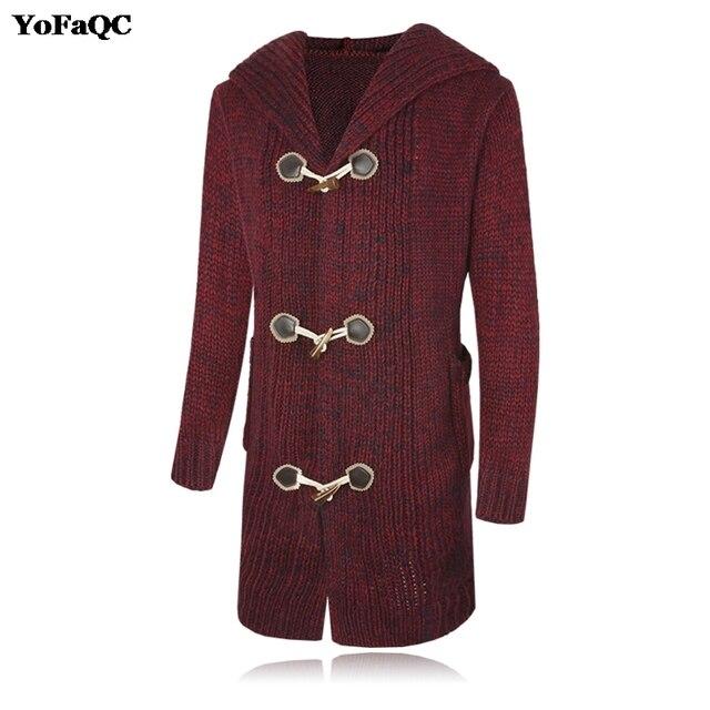 YoFaQC 2017 Mens Sweater Long Sleeve Hooded Cardigan Males Fashion ...