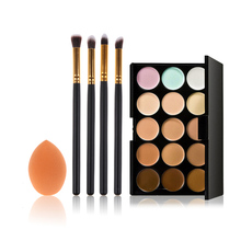 Makeup Foundation Sponge+4 Pcs Cosmetic Brushes+ 15 Colors Concealer Palette maquiagem