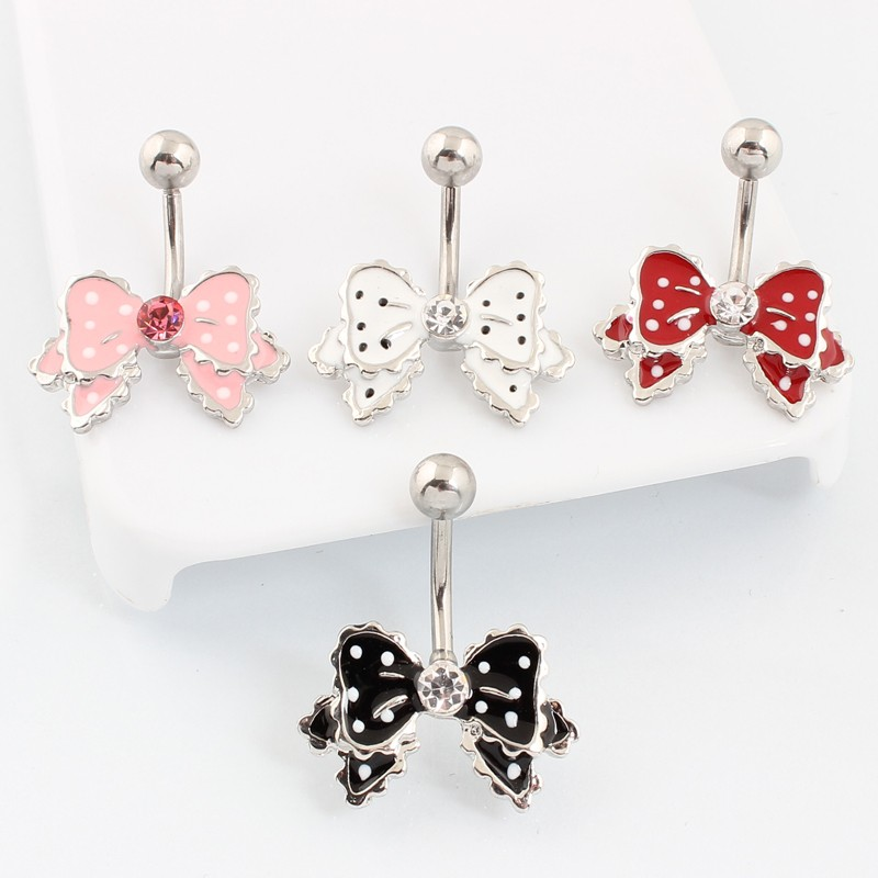 HTB1NhZqKVXXXXaXXXXXq6xXFXXX7 Cute Polka Dot Ribbon Bow Navel Piercing Ring Jewelry For Women - 4 Colors