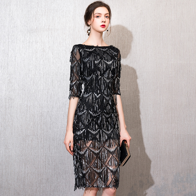 weiyin 2019 Black O-neck Half Sleeves   Evening     Dress   Straight Sequin Elegant Women's   Dress   Formal Party Prom   Dress