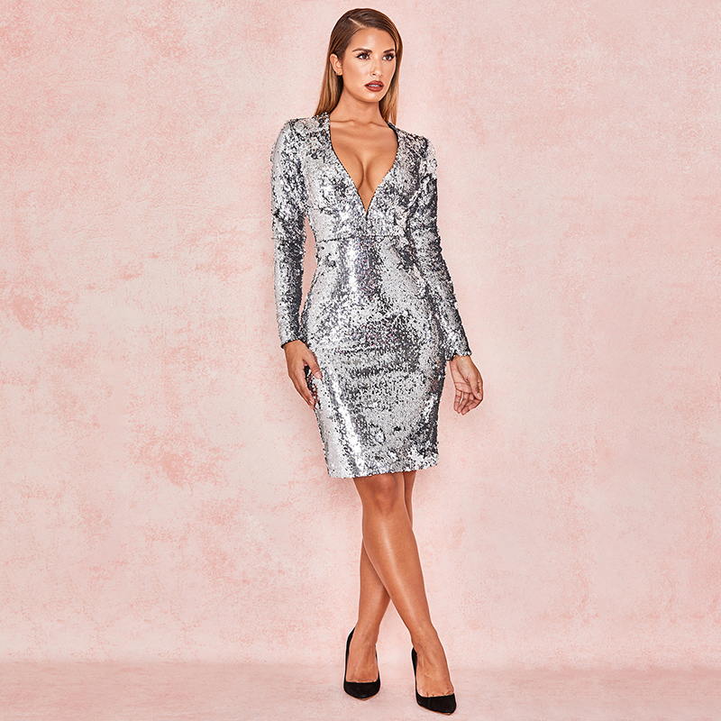 8e873f5614aea Silver Sequins Long Sleeve Bandage Dress With Sequins Sexy Shiny Deep V  Sweet Heart Neckline Party Club Dress