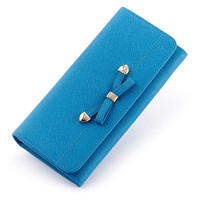New Women Wallets Bow Design Cow Split Leather Coin Purse Famous Brand Long Womens Lovely Purses