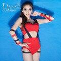 Moda Sexy vermelho patchwork macacões bodysuit cantora Jazz dança roupas boate desgaste