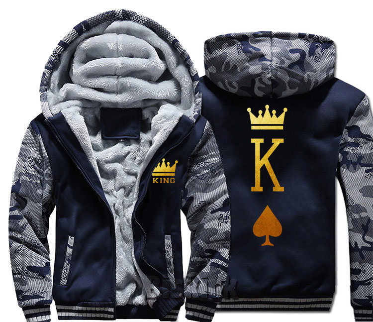Fashion Queen Couple Letter Print Mens Camouflage Warm Thick Jacket Jacket Winter Warm Velvet Top Hoodie Products Hot Sale Men's Clothing