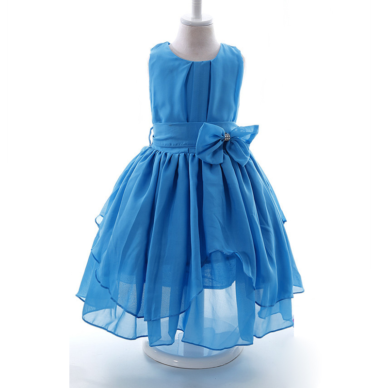 Girls Sleeveless tutu Princess dress Bow Gown party dresses One Piece Daily Dress for 3 4 6 8 10 12 years